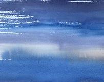 Textura con las rayas azules, fondo de pintura de la acuarela de la mano imágenes de archivo libres de regalías