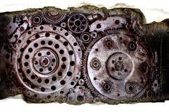 Textura concreta rachada com wel sujo velho da engrenagem da roda do metal Imagem de Stock