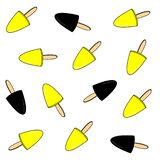 Textura congelada amarilla negra del fondo del palillo de la fruta del helado Ejemplo del vector del postre del verano Polo delic ilustración del vector