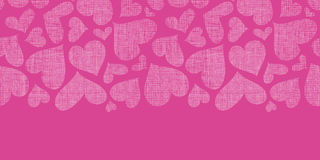 Textura cor-de-rosa de matéria têxtil dos corações do laço horizontal Fotos de Stock