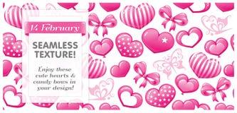 Textura cor-de-rosa SEM EMENDA com corações, borboletas Fotos de Stock