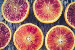 Textura cortada das laranjas pigmentadas fotografia de stock