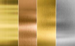 Textura cosida del metal de la plata, del oro y del bronce Imagen de archivo