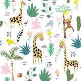 Textura criançola da selva com girafa, macaco, pássaro e elementos tropicais Ilustração sem emenda do vetor do teste padrão fotos de stock royalty free