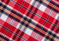 Textura a cuadros roja del fondo de la tela Imagen de archivo libre de regalías