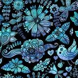 Textura da aquarela com flores e pássaros. Teste padrão floral. Origem ilustração royalty free