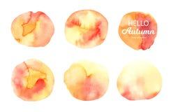 Textura da aquarela do vetor Manchas abstratas da laranja, as amarelas e as vermelhas ilustração do vetor