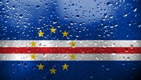 Textura da bandeira de Cabo Verde no vidro ilustração royalty free