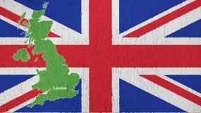 A textura da bandeira de Grâ Bretanha na parede ilustração do vetor