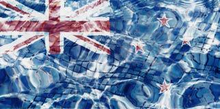 Textura da bandeira na associação, água de Nova Zelândia espirra ilustração stock