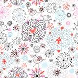 Textura da flor com amor dos pássaros Fotos de Stock