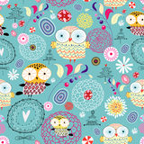 Textura da flor com corujas Fotos de Stock Royalty Free