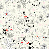 Textura da flor com gatos Fotografia de Stock
