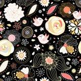Textura da flor com pássaros amorous ilustração stock