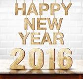 Textura da madeira do ano novo feliz 2016 na tabela de mármore com cera branco Imagem de Stock