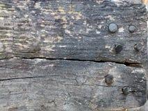 Textura da madeira e dos pregos Fotografia de Stock Royalty Free