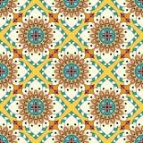 Textura da mandala em cores brilhantes Teste padrão sem emenda no estilo indiano Fundo abstrato do vetor ilustração royalty free