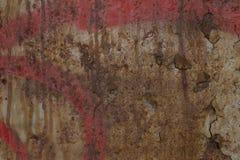 Textura da parede de superfície pintada rachada oxidada velha Imagens de Stock