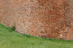 A textura da parede de tijolo de um castelo antigo, close-up Ho fotografia de stock royalty free