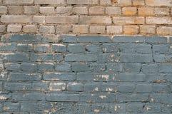 Textura da parede de tijolo velha, azul pintado Foto de Stock Royalty Free