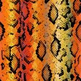 Textura da pele de serpente com rombo colorido Fundo geométrico Fundo vermelho do amarelo sem emenda do marrom do preto do teste  Imagem de Stock