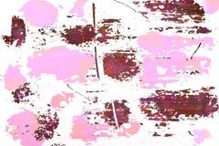 a textura da pintura em alguns lugares rosa, bege, ouro No fundo branco foto de stock royalty free