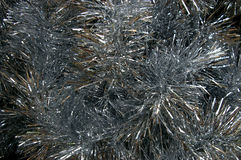 Textura da prata do ouropel do Natal Fotos de Stock