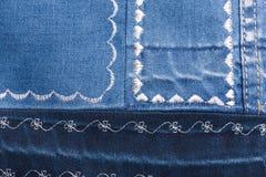 Textura da sarja de Nimes com testes padrões diferentes da linha branca Foto de Stock