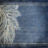 Textura da sarja de Nimes do fundo com teste padrão do laço Fotos de Stock Royalty Free