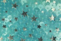 Textura da tela da escala e das estrelas de peixes de prata Fotos de Stock