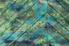 Textura das placas de madeira do vintage velho pintadas em ciano foto de stock royalty free