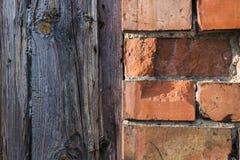 Textura das pranchas da parede e da madeira de tijolo Imagem de Stock