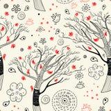 Textura de árvores pretas com pássaros Fotos de Stock