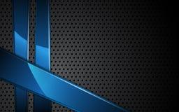 Textura de acero del vector y fondo dinámico metálico azul del marco Imagen de archivo