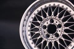 Textura de alumínio da borda da roda do metal Liga do carro, isolada em g Imagem de Stock