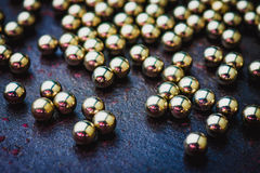 Textura de bolas de metal ou de bolas de rolamento metálicas Foc seletivo Fotografia de Stock Royalty Free