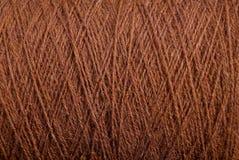 Textura de Brown de uma lã da linha de lã grossa Imagem de Stock
