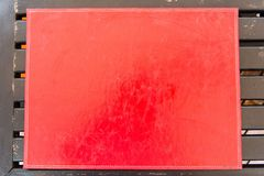 Textura de couro do vermelho de pano da tabela Fotografia de Stock Royalty Free
