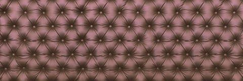 textura de couro marrom elegante horizontal com os botões para o alinhador longitudinal Fotos de Stock Royalty Free