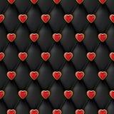 A textura de couro preta sem emenda com corações dourados vermelhos brilhantes abotoa-se Matéria têxtil de seda do vetor, fundo d ilustração do vetor