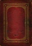 Textura de couro vermelha velha com frame decorativo do ouro Fotos de Stock
