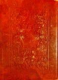 Textura de couro vermelha velha com quadro decorativo. Imagens de Stock Royalty Free