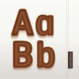 Textura de cuero de la piel del alfabeto. Fotos de archivo