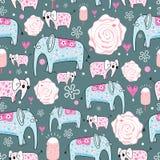 Textura de elefantes decorativos Fotografia de Stock Royalty Free