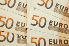 textura de 50 euro- contas Fotografia de Stock