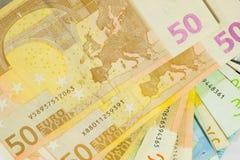 textura de 50 euro- contas Fotos de Stock