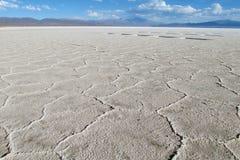 Textura de Gexagonal do sal na superfície de Uyuni Salar, Bolívia imagens de stock