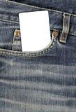 Textura de Jean com bolso e o cartão vazio Imagens de Stock