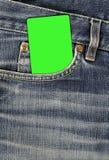 Textura de Jean com bolso e o cartão vazio Fotografia de Stock