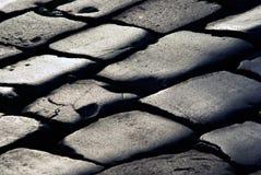 Textura de líneas en el adoquín de piedra Foto de archivo libre de regalías